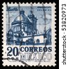 MEXICO - CIRCA 1960s: A stamp printed in Mexico shows Cathedral of Puebla, circa 1960s - stock photo