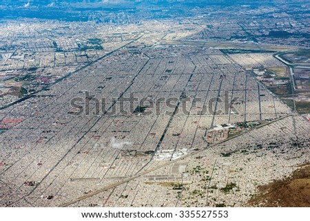 mexico city aerial view landscape from airplane - stock photo