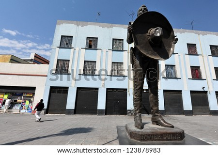 MEXICO CITY - FEB 24 :Monument to mariachi Javier Solis on February 24 2010 in Garibaldi Square in Mexico City. He was a popular Mexican singer of boleros and rancheras, and a film actor(1931-1966) - stock photo