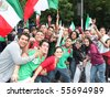 MEXICO CITY - JUNE 17 : Celebration of triumph of Mexican national football team against France at Reforma Avenue on June 17, 2010 in Mexico City. - stock photo