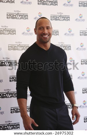 MEXICO CITY-  MARCH 15 : Actor Dwayne Johnson at Race to Witch Mountain Red Carpet Premier at Cinemex Santa Fe in Mexico City on March 15, 2009. The movie is based on the 1968 novel by Alexander Key. - stock photo