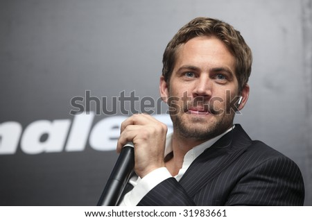 MEXICO CITY - MARCH 27: Actor Paul Walker attends the 'Fast & Furious' photo call  & press conference at the Marriot Hotel on March 27, 2009 in Mexico City. - stock photo