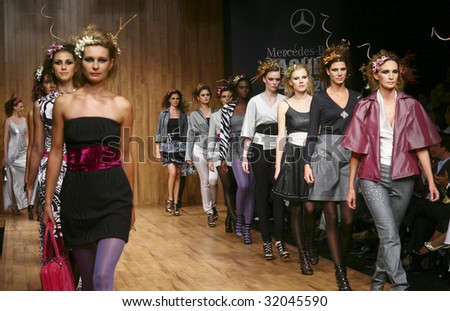 MEXICO CITY - MAY 18: Models walk the runway wearing Blanca Estela Sanchez Autumn/Winter 2009 during Mercedes-Benz Fashion Mexico Autum/Winter 2009 May 18, 2009 in Mexico City. - stock photo