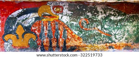MEXICO CITY, MEXICO - DECEMBER 25, 2014 Ancient Bird Colorful Painting Mural Wall Indian Ruins at Teotihuacan Mexico City Mexico.  Palace of Quetzalpapaloli.  Ancient ruins date back to 100 to 750AD. - stock photo