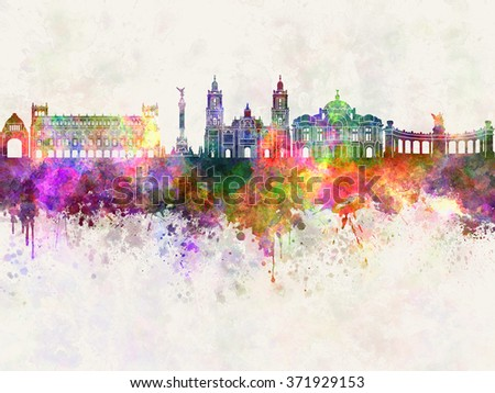 Mexico City skyline in watercolor background - stock photo