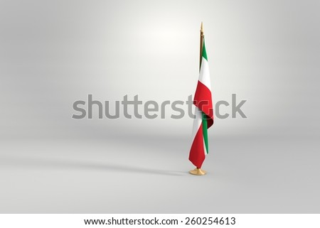 Mexico flag on a brown and golden wooden mast 3d illustration - stock photo