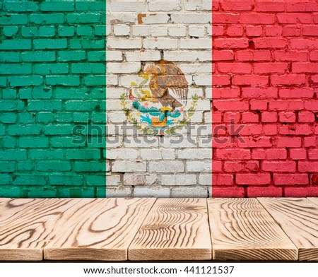 Mexico flag painted on brick wall with wooden floor - stock photo