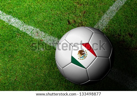 Mexico Flag Pattern of a soccer ball in green grass - stock photo