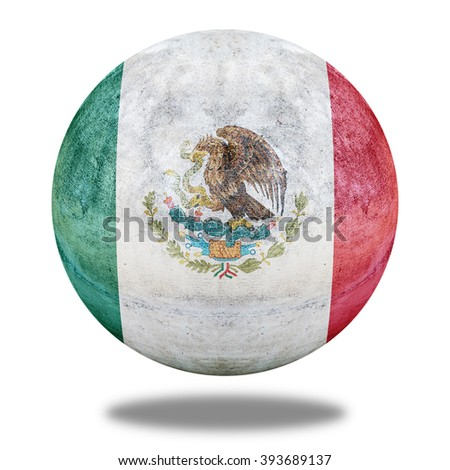 Mexico flag pattern on stone circle shape texture - stock photo