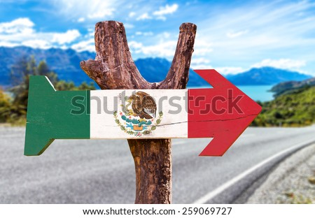 Mexico Flag sign with road background - stock photo
