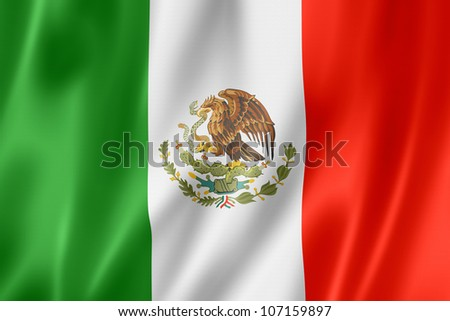 Mexico flag, three dimensional render, satin texture - stock photo