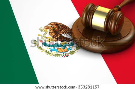 Mexico laws, legal system and justice concept with a 3d render of a gavel and the Mexican flag on background. - stock photo