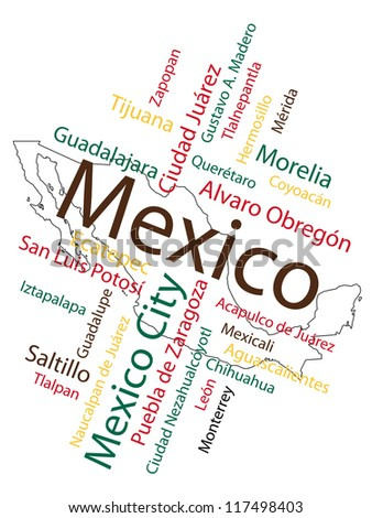 Mexico map and words cloud with larger cities; vector version is also available - stock photo