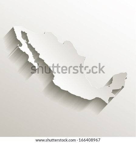 Mexico map card paper 3D natural raster - stock photo
