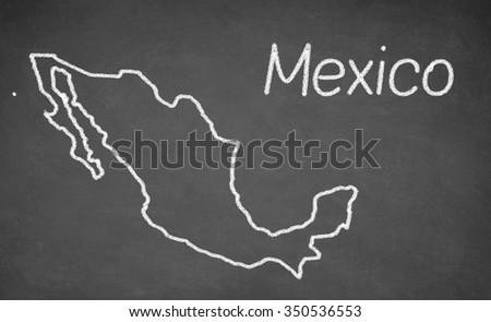 Mexico map drawn on chalkboard. Chalk and blackboard. - stock photo