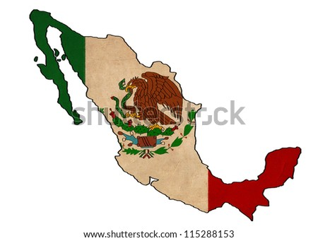 Mexico map on Mexico flag drawing ,grunge and retro flag series - stock photo