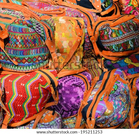 """Mexico, Merida - March 26th, 2014: """"Oaxaca in Merida"""" - Food and Handcrafts Event. Mexican traditional handmade bags. - stock photo"""