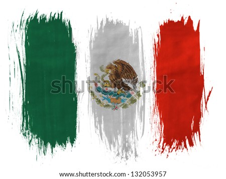 Mexico. Mexican flag painted with 3 vertical  brush strokes on white background - stock photo