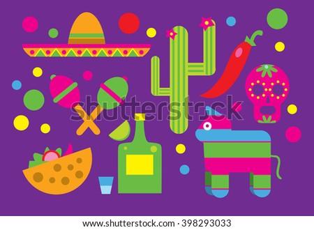 Mexico, Mexico raster icon. Viva Mexico. Cactus, Sombrero, Maracas, Tequila. Mexican Food Icon, mexican skull. Taco icon. - stock photo