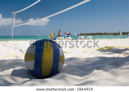 mexico on beach ball and the net - stock photo