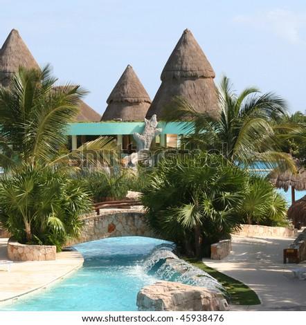 mexico riviera maya iberostar paraiso lindo pool - stock photo