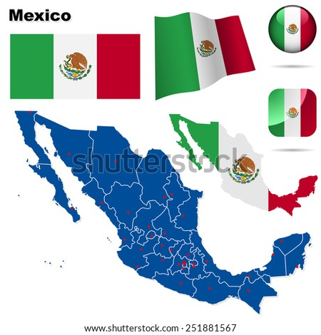 Mexico set. Detailed country shape with region borders, flags and icons isolated on white background. - stock photo
