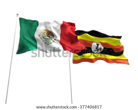 Mexico & Uganda Flags are waving on the isolated white background - stock photo