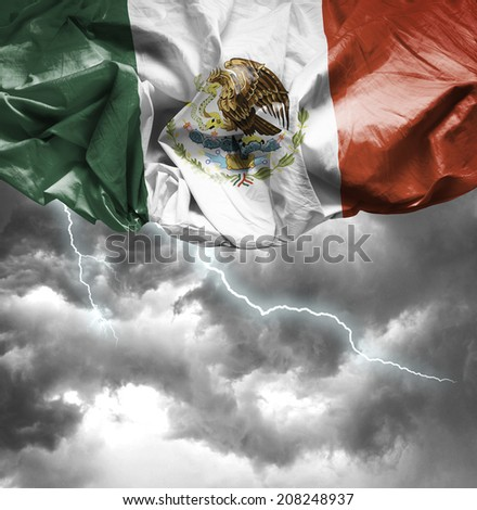 Mexico waving flag on a bad day - stock photo