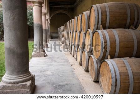 mezcal barrels in abandoned hacienda jaral de berrio mexico - stock photo