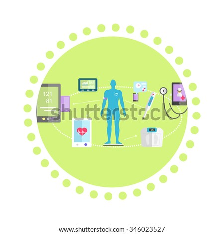 Mhealth technologies system icon flat isolated. Healthcare test, science mobile control, healthy and research medication, medical, scan app, health and patient, aid human. Raster version - stock photo