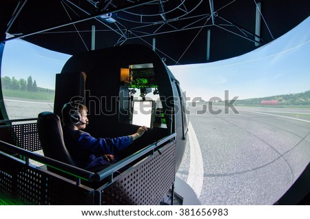 Mi-8 helicopter with a control panel simulator - stock photo