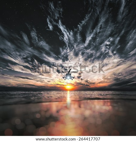 Mi-8 helicopters, warm sunset, sunset on the beach - stock photo