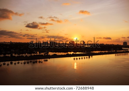 Miami at daybreak with view of canals - stock photo