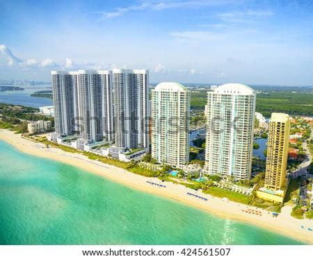 Miami Beach aerial view, Florida - stock photo