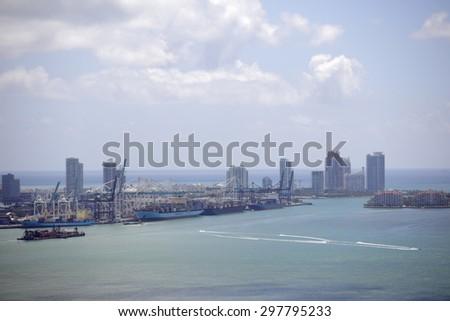 Miami Beach and Port Miami - stock photo