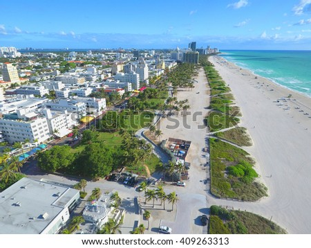 MIAMI BEACH - APRIL 18: Aerial photo of Miami Beach Ocean Drive which is a tourist hotspot with deco architecture and night clubs across from the beach April 18, 2016 in Miami Beach FL, USA - stock photo