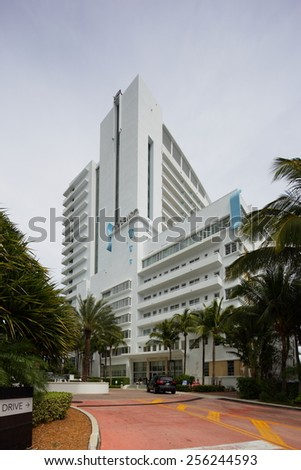 MIAMI BEACH - FEBRUARY 26: Photo of the Sorrento building at the Fontainebleau Hotel located at 4441 Collins Avenue February 26, 2015 in Miami Beach Florida - stock photo