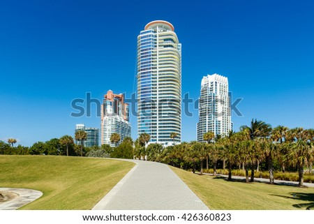 Miami Beach, FL USA - February 25, 2016: Beautiful Miami Beach cityscape along South Pointe Park with luxury condos. - stock photo
