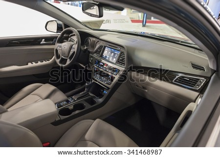 MIAMI BEACH, FL, USA - NOVEMBER 6, 2015: Hyundai Sonata hybrid interior on display during the 2015 Miami International Auto Show at the Miami Beach Convention Center in downtown Miami Beach. - stock photo