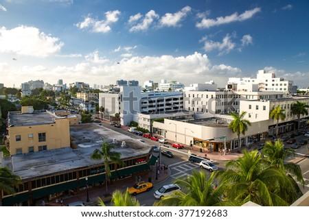Miami Beach, Florida - December 28, 2015: Aerial view  over South Miami Beach, Florida. - stock photo