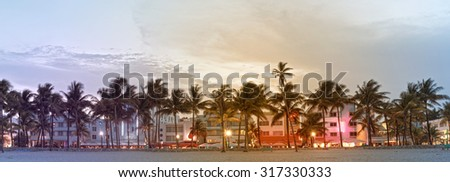 Miami Beach Florida, hotels and restaurants on Ocean Drive, world famous travel destination. Desaturated instagram filter processing for vintage looks - stock photo