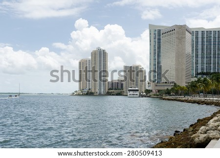 Miami Beach, Florida, US - May 17, 2015 - Miami Florida, skyscrapers and Atlantic ocean - stock photo