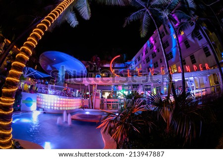 Miami Beach, Florida USA - August 19, 2014: The historic Clevelander Hotel in Miami Beach, a popular international travel destination, in the evening with neon lights and art deco architecture. - stock photo