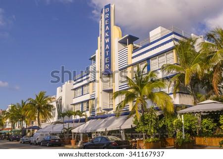 MIAMI BEACH, FLORIDA, USA - MAY 2004: Art Deco Breakwater Hotel on Ocean Drive, South Beach. - stock photo