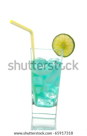 Miami Beach Iced Tea Cocktail with vodka, light rum, gin, tequila, blue curacao, lime juice, lemonade, lime wheel and straw isolated on a white background - stock photo