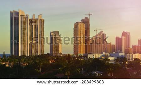 Miami Beach Skyline at beautiful sunset. Florida, United States. - stock photo