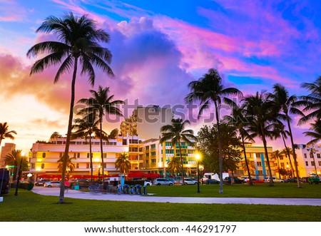 Miami Beach South Beach sunset in Ocean Drive Florida Art Deco - stock photo