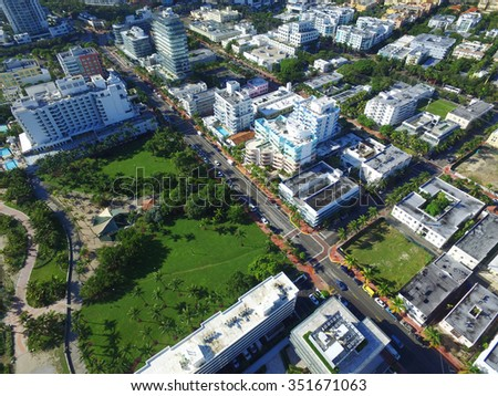 Miami Beach south of 5th Street aerial drone image - stock photo