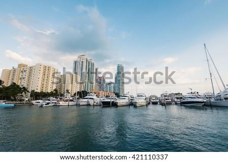 MIAMI BEACH, USA - MARCH 14, 2016: Miami Beach Marina and buildings in the background. - stock photo