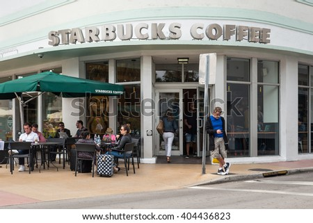 MIAMI BEACH, USA - MARCH 21, 2016: Starbucks coffee store in South Beach. Starbucks is the largest coffeehouse company in the world. - stock photo